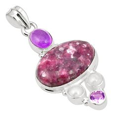 Natural purple lepidolite amethyst 925 sterling silver pendant jewelry m36713