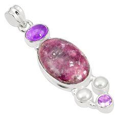 Natural purple lepidolite amethyst pearl 925 sterling silver pendant m36717