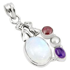 925 silver natural rainbow moonstone amethyst two cats pendant m36786