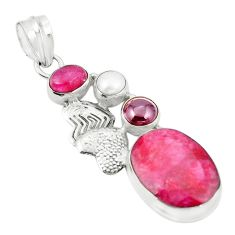 Natural red ruby garnet pearl 925 silver couple hearts pendant m37088