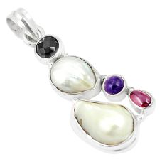925 sterling silver natural white pearl onyx pendant jewelry m39733