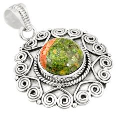 Natural green unakite 925 sterling silver pendant jewelry m40503