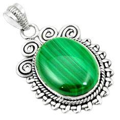 925 silver natural green malachite (pilot's stone) pendant jewelry m40524