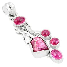 Natural pink rough tourmaline 925 silver two cats pendant jewelry m40567