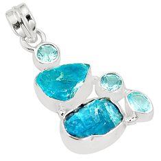 Blue apatite rough topaz 925 sterling silver pendant jewelry m40584