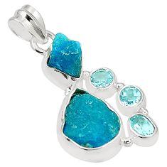 Blue apatite rough topaz 925 sterling silver pendant jewelry m40587