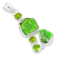 Green chrome diopside rough peridot 925 sterling silver pendant m40601