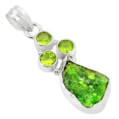 Green chrome diopside rough peridot 925 sterling silver pendant m40610