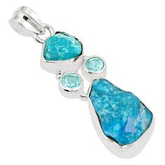 Blue apatite rough topaz 925 sterling silver pendant jewelry m40622