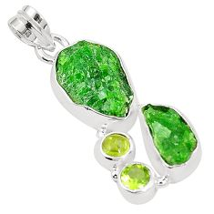 Green chrome diopside rough peridot 925 sterling silver pendant m40628