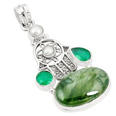 925 silver natural green moss agate hand of god hamsa pendant m41896