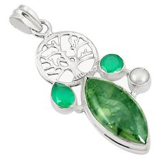 Natural green moss agate 925 silver tree of life pendant jewelry m41926