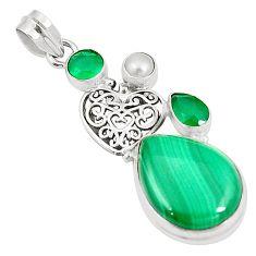 925 silver natural green malachite (pilot's stone) pendant jewelry m41940