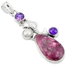 925 silver natural purple lepidolite amethyst pearl fish pendant m43538