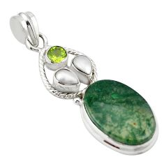 925 sterling silver natural green moss agate peridot pendant jewelry m43544