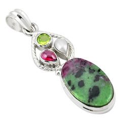 925 sterling silver natural pink ruby zoisite peridot pearl pendant m43565