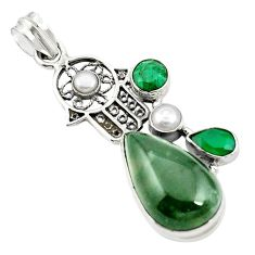 Natural green moss agate 925 silver hand of god hamsa pendant m44523