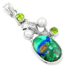 Natural green azurite malachite peridot pearl 925 silver fish pendant m45315