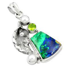 925 silver natural green azurite malachite pearl deltoid leaf pendant m45316