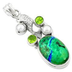 Natural green azurite malachite peridot pearl 925 silver fish pendant m45319