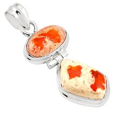 Natural multi color mexican fire opal 925 sterling silver pendant m45335