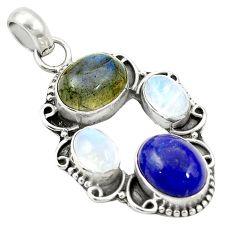 Natural blue lapis lazuli labradorite 925 sterling silver pendant m46588