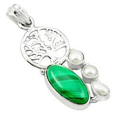 925 silver natural green malachite (pilot's stone) tree of life pendant m46787