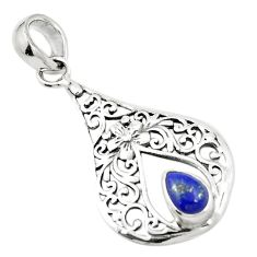 Natural blue lapis lazuli 925 sterling silver pendant jewelry m46820