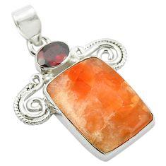 Natural orange calcite garnet 925 sterling silver pendant m47941