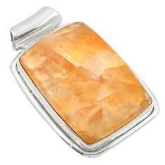 Natural orange calcite 925 sterling silver pendant jewelry m47950