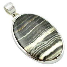 Natural black banded oil shale 925 sterling silver pendant m48081