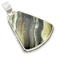 Natural black banded oil shale 925 sterling silver pendant m48085
