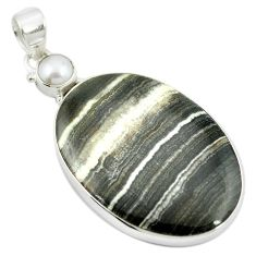 Natural black banded oil shale pearl 925 sterling silver pendant m48086