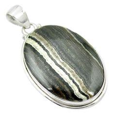 Natural black banded oil shale 925 sterling silver pendant m48091
