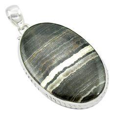 Natural black banded oil shale 925 sterling silver pendant m48097