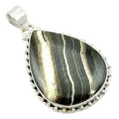 Natural black banded oil shale pear shape 925 sterling silver pendant m48100