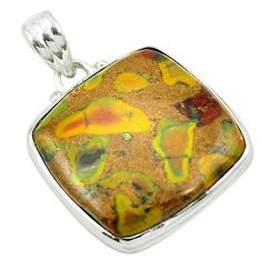 Natural brown bamboo leaf jasper 925 sterling silver pendant m48214