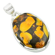 Natural brown bamboo leaf jasper 925 sterling silver pendant m48215