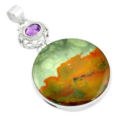 Natural brown landscape jasper purple amethyst 925 silver pendant m48265