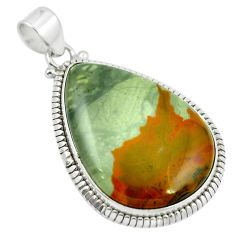 Natural brown landscape jasper 925 sterling silver pendant m48269