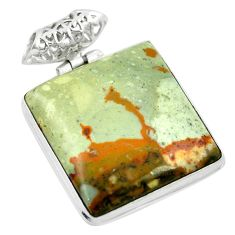 Natural brown landscape jasper 925 sterling silver pendant m48275