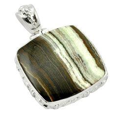 Natural black banded oil shale 925 sterling silver pendant m48403