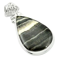 925 sterling silver natural black banded oil shale pear pendant m48405