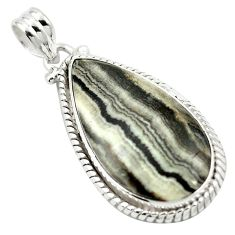 Natural black banded oil shale 925 sterling silver pendant jewelry m48406