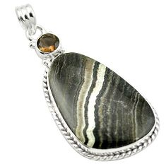 Natural black banded oil shale smoky topaz 925 silver pendant jewelry m48409