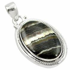 Natural black banded oil shale 925 sterling silver pendant m48412