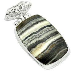 Natural black banded oil shale 925 sterling silver pendant m48414