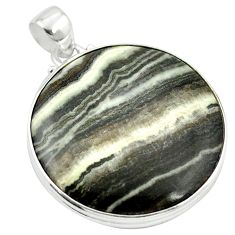925 sterling silver natural black banded oil shale pendant jewelry m48415