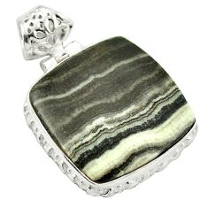 Natural black banded oil shale 925 sterling silver pendant jewelry m48417
