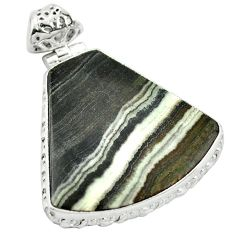 Natural black banded oil shale 925 sterling silver pendant jewelry m48418